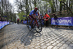 Marco Haller (AUT) Katusha Alpecin on the the first ascent of the Kemmelberg during the 2019 Gent-Wevelgem in Flanders Fields running 252km from Deinze to Wevelgem, Belgium. 31st March 2019.<br /> Picture: Eoin Clarke | Cyclefile<br /> <br /> All photos usage must carry mandatory copyright credit (© Cyclefile | Eoin Clarke)