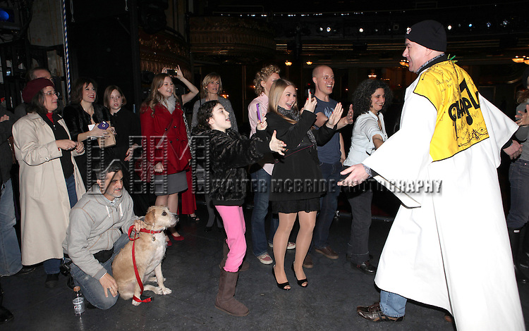Bill Berloni, Lilla Crawford & Sunny with Merwin Foard & Company attending the Broadway Opening Night Performance  Gypsy Robe Ceremony celebrating Merwin Foard recipient  for 'Annie' at the Palace Theatre in New York City on 11/08/2012