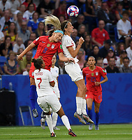 20190702 - LYON , FRANCE : American Julie Ertz pictured in a duel with English Jill Scott (r) in front of English Nikita Parris (7) during the female soccer game between England  - the Lionesses - and The United States of America  – USA - , a knock out game in the semi finals of the FIFA Women's  World Championship in France 2019, Tuesday 2 nd July 2019 at the Stade de Lyon  Stadium in Lyon  , France .  PHOTO SPORTPIX.BE | DAVID CATRY