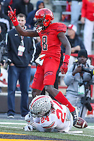 College Park, MD - November 12, 2016: Maryland Terrapins wide receiver Levern Jacobs (8) points a first down during game between Ohio St. and Maryland at  Capital One Field at Maryland Stadium in College Park, MD.  (Photo by Elliott Brown/Media Images International)