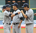 (L-R) Rob Thomson, Ichiro Suzuki, Hiroki Kuroda, Masahiro Tanaka (Yankees),<br /> APRIL 1, 2014 - MLB :<br /> Ichiro Suzuki of the New York Yankees gets a fist-bump from his teammate Masahiro Tanaka during introductions before the baseball game against the Houston Astros at Minute Maid Park in Houston, Texas, United States. (Photo by AFLO)