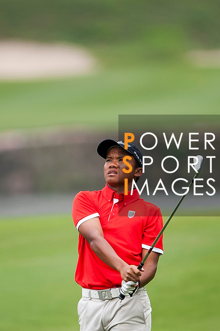 Fadhli Rahman Soetarso of Indonesia in action at the 9th Faldo Series Asia Grand Final 2014 golf tournament on March 18, 2015 at Faldo course in Mid Valley clubhouse in Shenzhen, China. Photo by Xaume Olleros / Power Sport Images