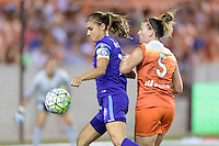 Alex Morgan (13) of the Orlando Pride protects the ball from Cari Roccaro (5) of the Houston Dash on Friday, May 20, 2016 at BBVA Compass Stadium in Houston Texas. The Orlando Pride defeated the Houston Dash 1-0.