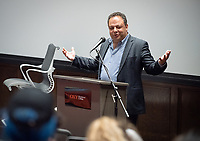 """Tal Becker, one of Israel's top peace negotiators and senior fellow at the Shalom Hartman Institute in Jerusalem, spoke on April 24, 2018 as Occidental College's 2018 Jack Kemp '57 Distinguished Lecturer. Becker spoke about """"The Israeli-Palestinian Conflict in Jewish Discourse: Identity, Justice and Religion"""" in Choi Auditorium.<br /> (Photo by Marc Campos, Occidental College Photographer)"""