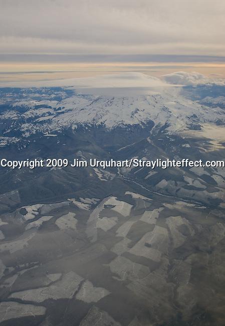 Sunrise snow-capped Mt. Rainier outside Seattle, Washington in the morning. 12/23/2009- Jim Urquhart/Straylighteffect.com Aerial