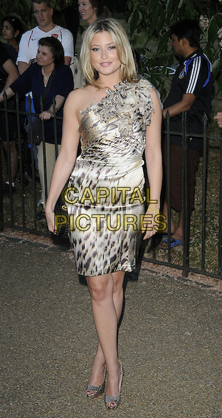 HOLLY VALANCE .At the Serpentine Gallery Summer Party, Serpentine Gallery, Hyde Park, London, England, UK, July 8th 2010..full length one shoulder dress beige leopard animal print ruffle open toe shoes black clutch bag brown gold .CAP/CAN.©Can Nguyen/Capital Pictures.