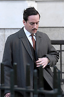 "MATTHEW MacFADYEN.Filming ""Marple: A Pocketful of Rye"", Victoria House, Bloomsbury, London, England..March 21st, 2008. Inspector Neele on the set of grey gray trench coat half length suit moustache mustache .CAP/IA.©Ian Allis/Capital Pictures."
