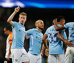 Kevin De Bruyne of Manchester City celebrates scoring the first goal during the Champions League Group F match at the Emirates Stadium, Manchester. Picture date: September 26th 2017. Picture credit should read: Andrew Yates/Sportimage
