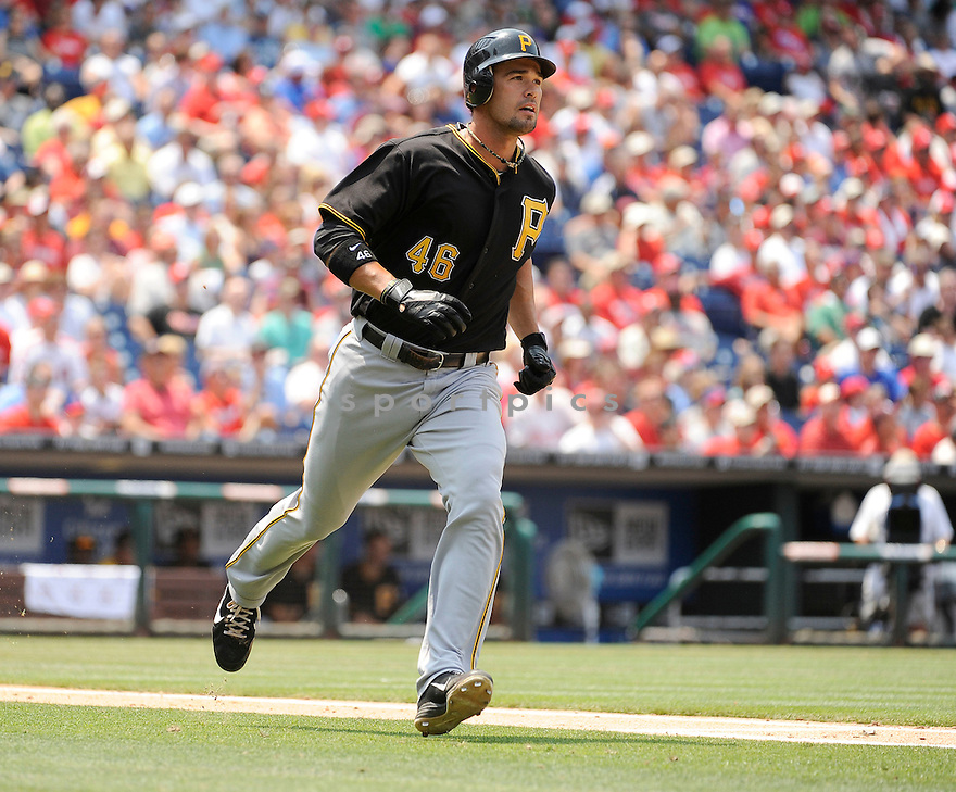 GARRETT JONES (46) of the Pittsburgh Pirates in action during the Pirates game against the Philadelphia Phillies on June 28, 2012 at Citizens Bank Park in Philadelphia, PA. The Pirates beat the Phillies 5-4.