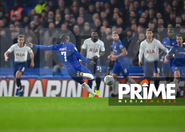 Ngolo Kanté of Chelsea scores the opening goal during the Carabao Cup Semi-Final 2nd leg match between Chelsea and Tottenham Hotspur at Stamford Bridge, London, England on 24 January 2019. Photo by Vince  Mignott / PRiME Media Images.