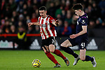 Enda Stevens of Sheffield United runs away from Declan Rice of West Ham United during the Premier League match at Bramall Lane, Sheffield. Picture date: 10th January 2020. Picture credit should read: James Wilson/Sportimage