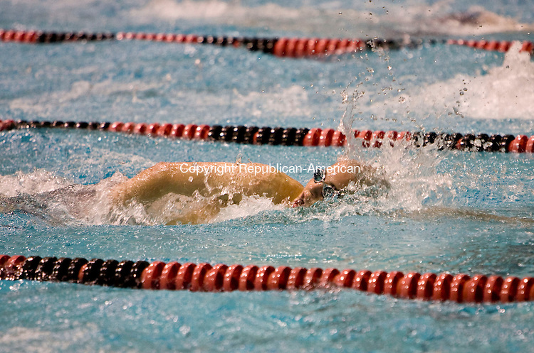 MIDDLETOWN, CT - 17 MARCH 2010 -031710JT09-<br /> Cheshire's Daniel Mongillo competes in the 200 yard freestyle during Wednesday's Class L Championships at the Freeman Athletic Center in Middletown. Mongillo finished with a time of 1:53.42.<br /> Josalee Thrift Republican-American