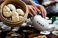 Pork buns and tea at the Lin Heung Tea House, Hong Kong.