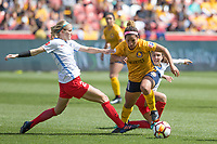Sandy, UT - Saturday April 14, 2018: Nikki Stanton, Desiree Scott during a regular season National Women's Soccer League (NWSL) match between the Utah Royals FC and the Chicago Red Stars at Rio Tinto Stadium.