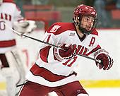 Daniel Moriarty (Harvard - 11) - The Harvard University Crimson defeated the visiting Clarkson University Golden Knights 3-2 on Harvard's senior night on Saturday, February 25, 2012, at Bright Hockey Center in Cambridge, Massachusetts.