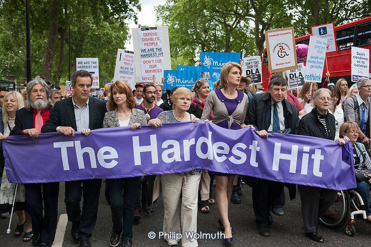 Jane Asher and Sally Bercow MP are among those leading The Hardest Hit  London march organised by the UK Disabled People's Council to protest at government cuts to disability benefits, allowances and services.