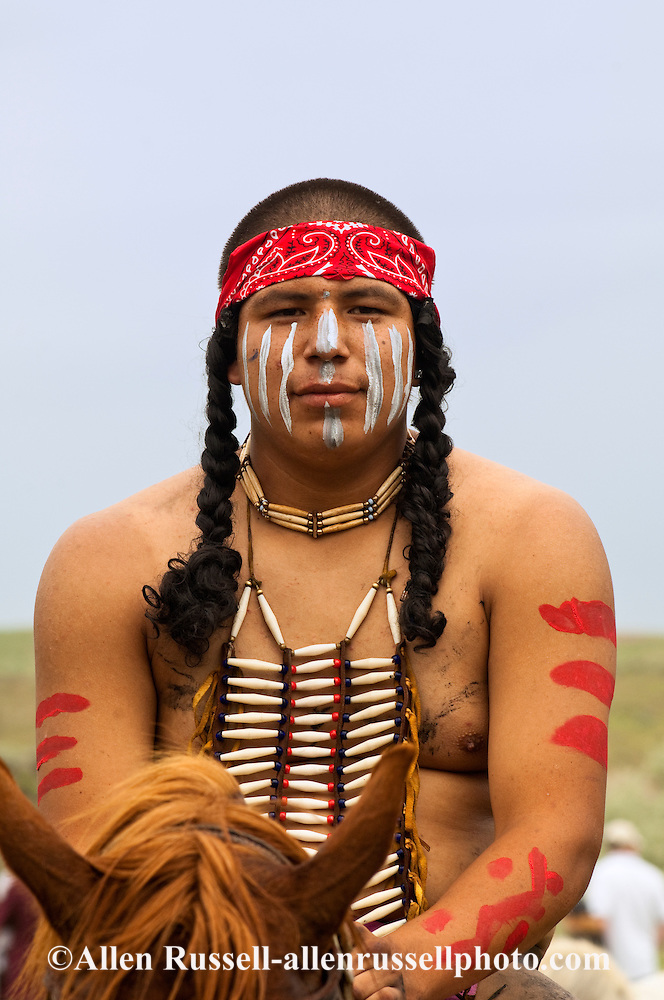Indian Warrior With War Paint At Battle Of The Little
