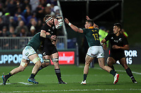 Jean-Luc du Preez tackling Kieran Read (captain) during the Rugby Championship match between the New Zealand All Blacks and South Africa Springboks at QBE Stadium in Albany, Auckland, New Zealand on Saturday, 16 September 2017. Photo: Shane Wenzlick / lintottphoto.co.nz