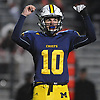Kenny Galvin #10 of Massapequa reacts after teammate Angelo Petrakis #24 (not in picture) scored a touchdown in the first quarter of the Nassau County Conference I varsity football semifinals against Freeport at Hofstra University on Saturday, Nov. 11, 2017.
