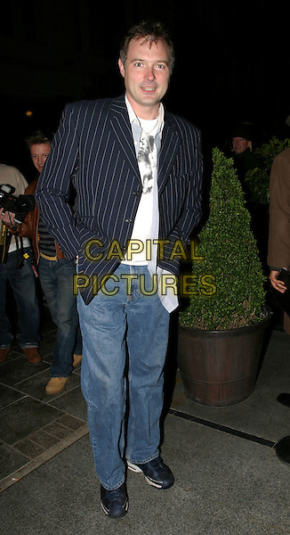 JOHN LESLIE.The Roundhouse. Hogan Sportswear Company. Launch Of The New Olympian Range.April 22nd, 2004.full length, full-length, jeans, denim, pinstripe suit jacket.www.capitalpictures.com.sales@capitalpictures.com.© Capital Pictures.
