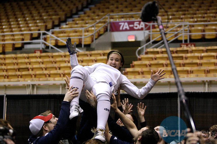 27 MAR 2011:  Courtney Hurley of Notre Dame is hoisted by her teammates after beating Noam Mills of Harvard in the epee competition of the Division I Women's Fencing Championship held at St. John Arena on the Ohio State University campus in Columbus, OH. Hurley defeated MIlls 8-7 to claim the national title. Jay LaPrete/ NCAA Photos