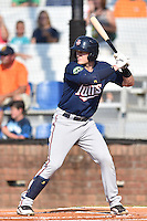 Elizabethton Twins third baseman Travis Blankenhorn (7) awaits a pitch during a game against the Johnson City Cardinals at Howard Johnson Field at Cardinal Park on June 26, 2016 in Johnson City, Tennessee. The Twins defeated the Cardinals 13-12. (Tony Farlow/Four Seam Images)