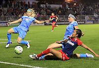 Boyds, MD - Friday Sept. 30, 2016: Julie Johnston, Arin Gilliland, Caprice Dydasco during a National Women's Soccer League (NWSL) semi-finals match between the Washington Spirit and the Chicago Red Stars at Maureen Hendricks Field, Maryland SoccerPlex. The Washington Spirit won 2-1 in overtime.
