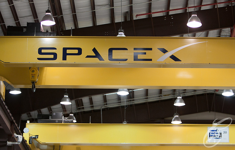 SpaceX's logo is seen in its Launch Complex 40  hangar at  Cape Canaveral, Florida.