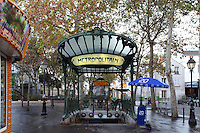 "Subway station "" Abbesses "" with shelter of roof, 1900, Place des Abbesses, Paris 18th, France, built by architect Hector Guimard. Picture by Manuel Cohen"