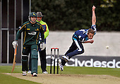 Scottish Saltires V Nottingham Outlaws - Clydesdale Bank 40 - at Grange CC (Edinburgh) - Saltires Josh Davey (who later scored heavily with the bat) bowling on his way to 2 wickets for 44 off 8 overs - Picture by Donald MacLeod  07.5.12  07702 319 738  clanmacleod@btinternet.com