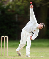 G Edwards of Galleywood in bowling action - Hornchurch Athletic CC vs Galleywood CC, Essex Club Cricket at Hylands Park, Hornchurch - 18/05/13 - MANDATORY CREDIT: Rob Newell/TGSPHOTO - Self billing applies where appropriate - 0845 094 6026 - contact@tgsphoto.co.uk - NO UNPAID USE
