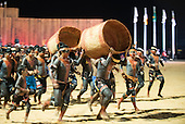 Xerente warriors participate in the Log Race at the International Indigenous Games, in the city of Palmas, Tocantins State, Brazil. Photo © Sue Cunningham, pictures@scphotographic.com 24th October 2015