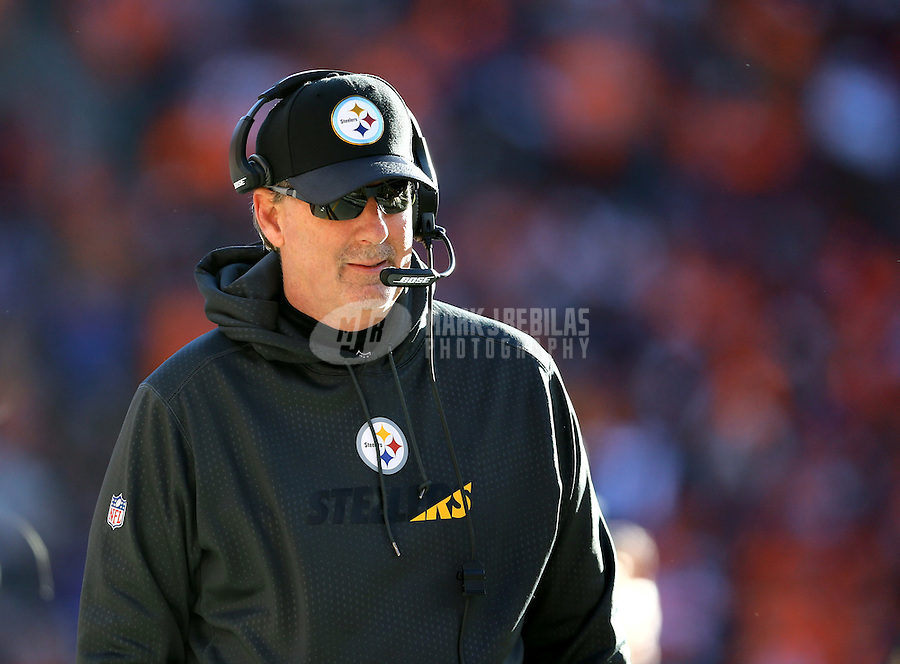 Jan 17, 2016; Denver, CO, USA; Pittsburgh Steelers defensive coordinator Keith Butler against the Denver Broncos during the AFC Divisional round playoff game at Sports Authority Field at Mile High. Mandatory Credit: Mark J. Rebilas-USA TODAY Sports
