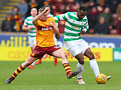 18th March 2018, Fir Park, Motherwell, Scotland; Scottish Premiership football, Motherwell versus Celtic;  Allan Campbell and Celtic's Moussa Dembele battle for the ball