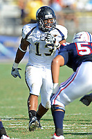 30 October 2010:  FIU linebacker Toronto Smith (13) audibles changes to the defense in the first quarter as the Florida Atlantic University Owls defeated the FIU Golden Panthers, 21-9, at Lockhart Stadium in Fort Lauderdale, Florida.