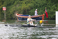 Race: 21  MasF.1x  Quarter-Final<br /> 142  Derwent Rowing Club (Hancock)<br /> 146  Dart-Totnes Amateur Rowing Club (Atkinson)<br /> <br /> Henley Masters Regatta 2018 - Friday<br /> <br /> To purchase this photo, or to see pricing information for Prints and Downloads, click the blue 'Add to Cart' button at the top-right of the page.