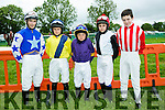 l-r  Gavin Bruder, Michael Sheehy, Conor Walsh, Andrew Slattery and Joey Sheridanenjoying the  Castleisland races in Powells road Castleisland on Saturday