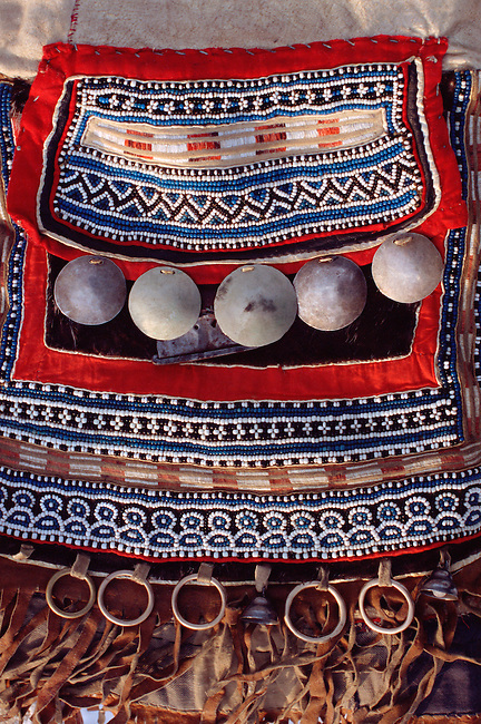 A detail of a traditional Even woman's apron. Evensk, Magadan Region, Eastern Siberia, Russia