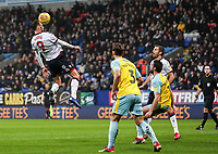 Bolton Wanderers' Christian Doidge competing in the air<br /> <br /> Photographer Andrew Kearns/CameraSport<br /> <br /> The EFL Sky Bet Championship - Bolton Wanderers v Rotherham United - Wednesday 26th December 2018 - University of Bolton Stadium - Bolton<br /> <br /> World Copyright &copy; 2018 CameraSport. All rights reserved. 43 Linden Ave. Countesthorpe. Leicester. England. LE8 5PG - Tel: +44 (0) 116 277 4147 - admin@camerasport.com - www.camerasport.com
