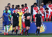 Referee Mr Vilhjaimur Thorarinsson leads out the two teams during Chelsea Under-19 vs AS Monaco Under-19, UEFA Youth League Football at the Cobham Training Ground on 19th February 2019