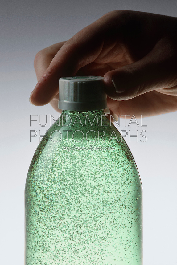 CARBONATION- CO2 BUBBLES IN BOTTLE OF SODA<br />
