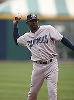 May 11th 2007:  Manny Alexander of the Columbus Clippers throws during a game vs the Buffalo Bisons in International League baseball action.  Photo by Mike Janes/Four Seam Images