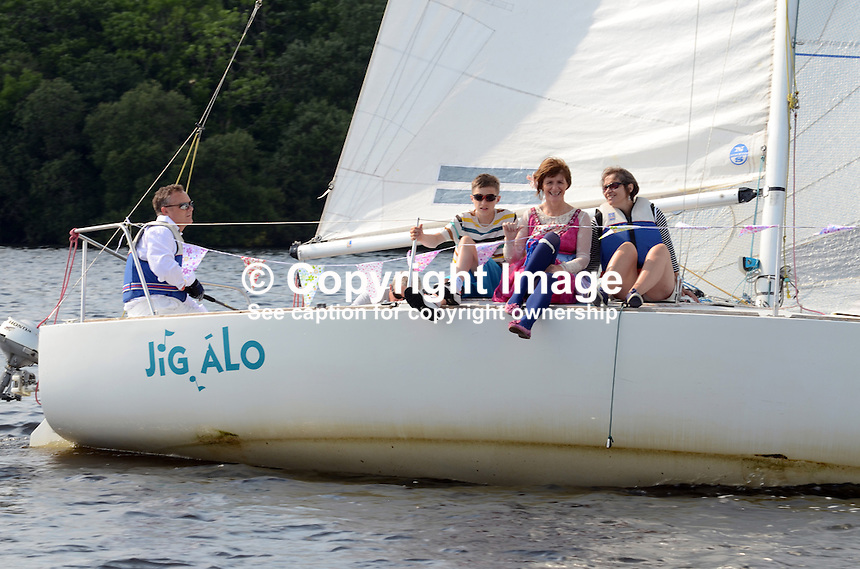 Georgian Day, Lough Erne Yacht Club, Killadeas, Co Fermanagh, N Ireland, UK, 20th July 2013. At the helm is Tim Rippey, Enniskillen, Co Fermanagh. The crew are Conor Rippey, Bridget Rippey and Catriona  Johnston, Irvinestown. 201307202836.   <br />