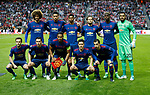 Manchester United team group back row from left: Marouane Fellaini, Chris Smalling, Marcus Rashford, Daley Blind, Paul Pogba and Sergio Romero.<br /> Front row: Juan Mata, Matteo Darmian, Luis Antonio Valencia, Ander Herrera and Henrikh Mkhitaryan of Manchester United during the UEFA Europa League Final match at the Friends Arena, Stockholm. Picture date: May 24th, 2017.Picture credit should read: Matt McNulty/Sportimage
