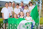 Rose of Tralee Charmaine Kenny who raised the Green Flag at Loretto National School, Killarney, on Monday morning, pictured with Caoilinn O'Donoghue, Ruth Courtney, Treasa O'Sullivan, Emily Rose McAllen, Cian Gammell, Sean Kelliher,caretaker, Darren Mulcahy, Ciara Randles and Jevon Flaherty.