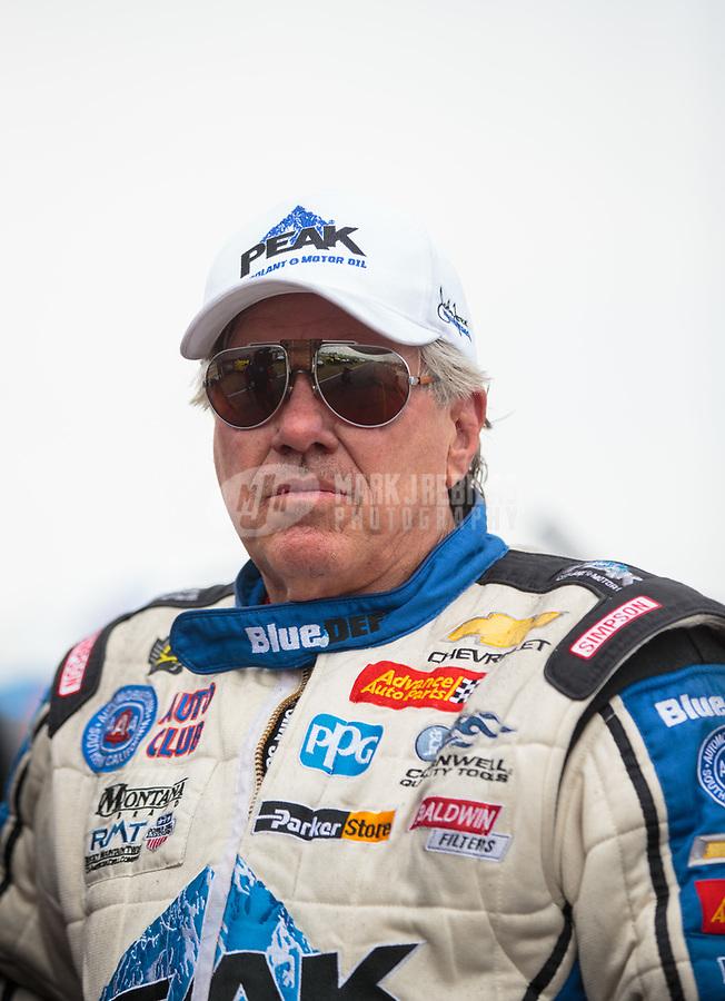 Apr 13, 2019; Baytown, TX, USA; NHRA funny car driver John Force during qualifying for the Springnationals at Houston Raceway Park. Mandatory Credit: Mark J. Rebilas-USA TODAY Sports