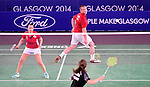 Wales' Oliver Gwilt, right, with team-mate Sarah Thomas, <br /> <br /> Photographer Chris Vaughan/Sportingwales<br /> <br /> 20th Commonwealth Games - Day 6 - Tuesday 29th July 2014 - Badminton - Emirates Arena including the Sir Chris Hoy Velodrome - Glasgow - UK