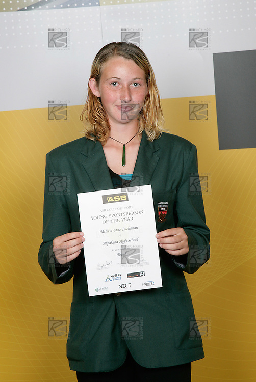 Touch Girls Winner - Melissa-Jane Buchanan. ASB College Sport Young Sportsperson of the Year Awards 2006, held at Eden Park on Thursday 16th of November 2006.<br />