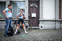 Jasper Philipsen (BEL/UAE Team Emirates) (for the occasion part of a the Belgian Cycling Team) post race<br /> <br /> Baloise Belgium Tour 2019<br /> Stage 4: Seraing – Seraing 151.1km<br /> ©kramon