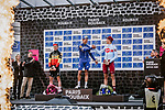 The final podium in Roubaix Velodrome, winner Philippe Gilbert (BEL), 2nd Nils Politt (GER) Team Katusha Alpecin and 3rd Belgian Champion Yves Lampaert (BEL) Deceuninck-Quick Step at the end of the 117th edition of Paris-Roubaix 2019, running 257km from Compiegne to Roubaix, France. 14th April 2019<br /> Picture: ASO/Pauline Ballet | Cyclefile<br /> All photos usage must carry mandatory copyright credit (&copy; Cyclefile | ASO/Pauline Ballet)